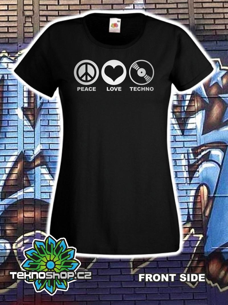 Dámské Triko PEACE-LOVE-TECHNO  2d10255129